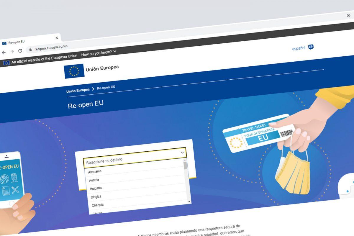 Re-open EU, o site oficial sobre a reabertura de fronteiras